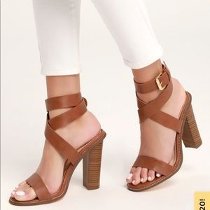 (NWOT) Brown Leather Open Toe Ankle Strap Heels